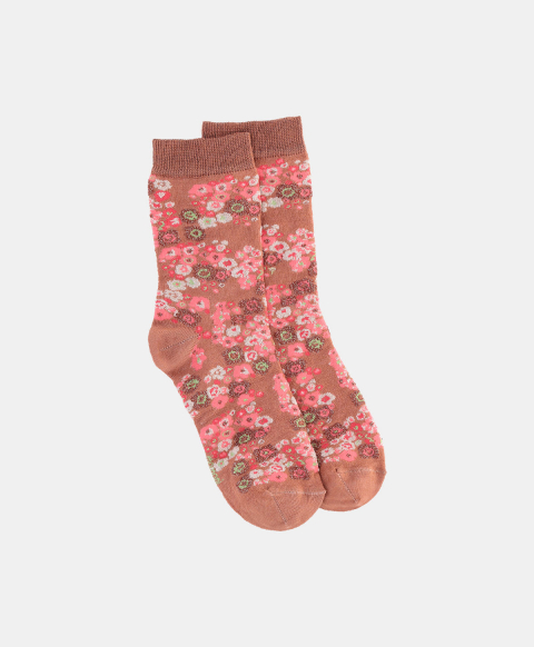 Cotton blend jacquard socks with clay flower print