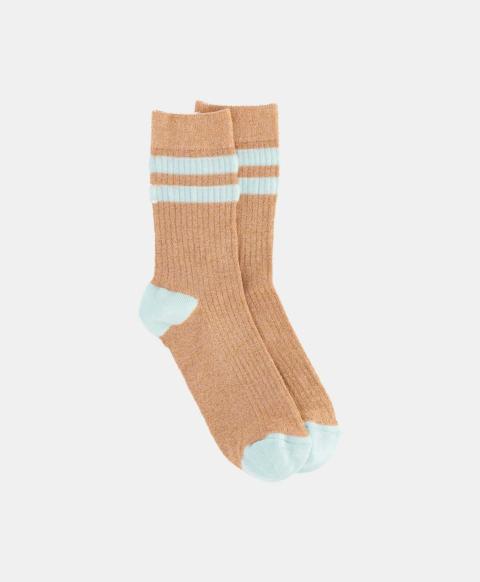 Gold ribbed lurex sporty socks