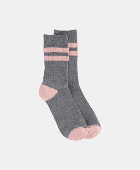 Silver ribbed lurex sporty socks
