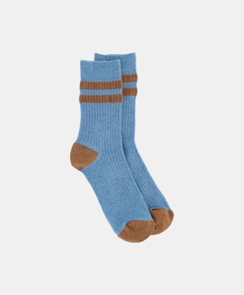 Light blue ribbed lurex sporty socks