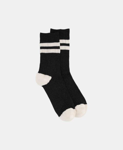Black ribbed lurex sporty socks