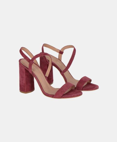 Suede sandal with heel, bordeaux