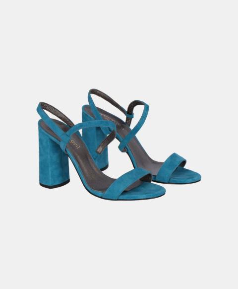 Suede sandal with heel, ligt blue