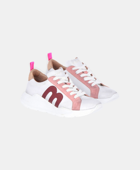 Cream leather running shoes with burgundy logo