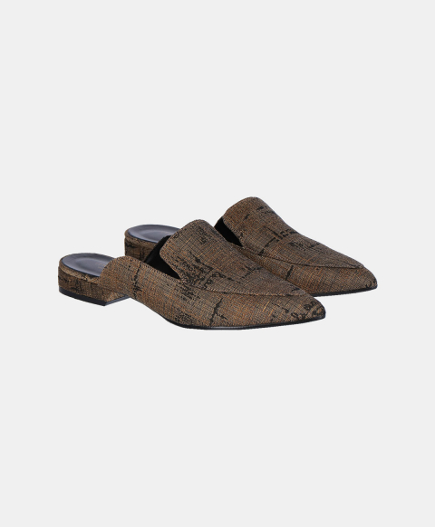 Gold jacquard slippers