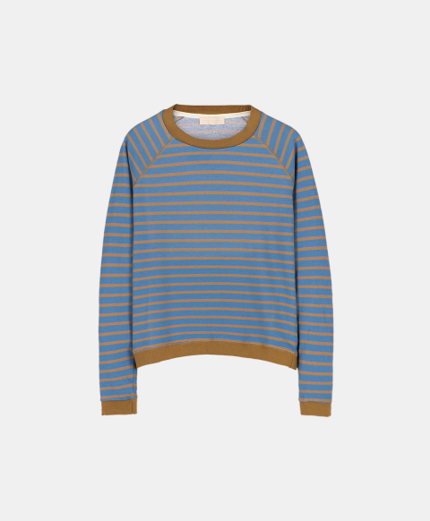 Oversized sweatshirt in striped cotton, light blue and green