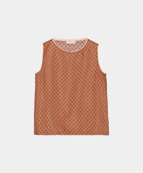 Sleeveless silk top with geometric earthenware print