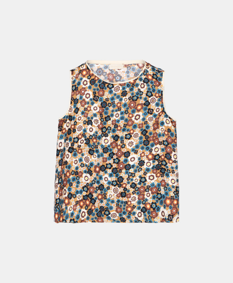Printed silk sleeveless top with small flowers print