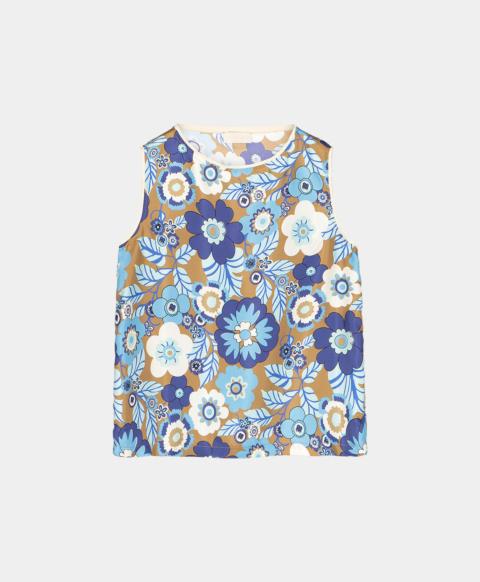 Printed silk sleeveless top with flowers print