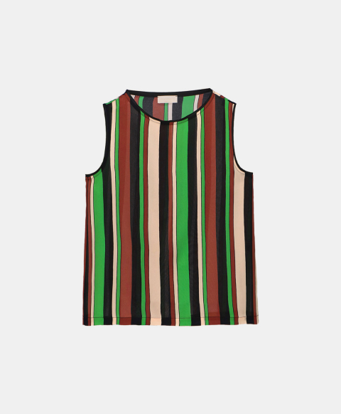 Sleeveless top in crepe de chine with stripes print