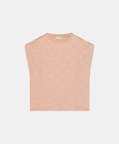 Sleeveless T-shirt embroidered with lurex thread, sand