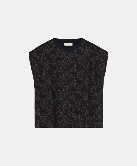 Sleeveless T-shirt embroidered with lurex thread, black