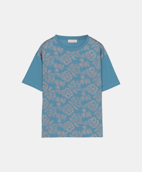 Oversized cotton T-shirt embroidered with lurex thread, octane