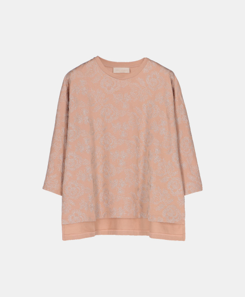 3/4 sleeves t-shirt in sand cotton embroidered with lurex thread