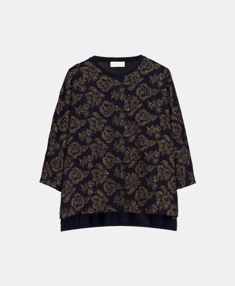Long-sleeved crew neck T-shirt embroidered with lurex thread