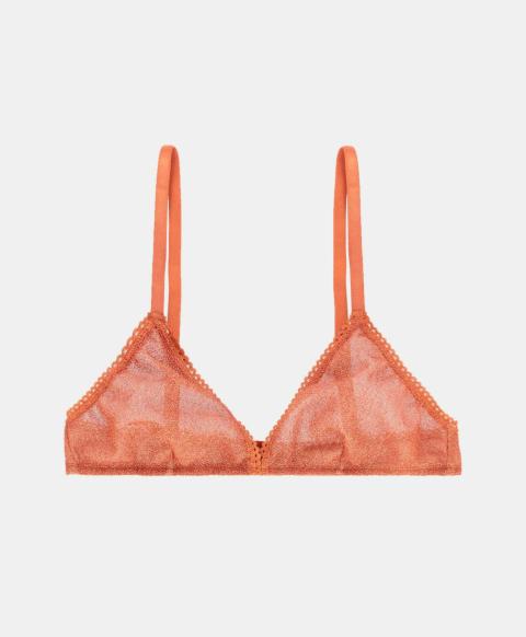 Wireless triangle bra in orange jersey