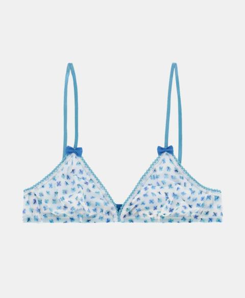 Wireless triangle bra, cream pattern