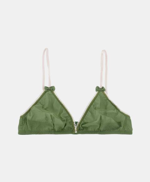 Wireless triangle bra in green tulle