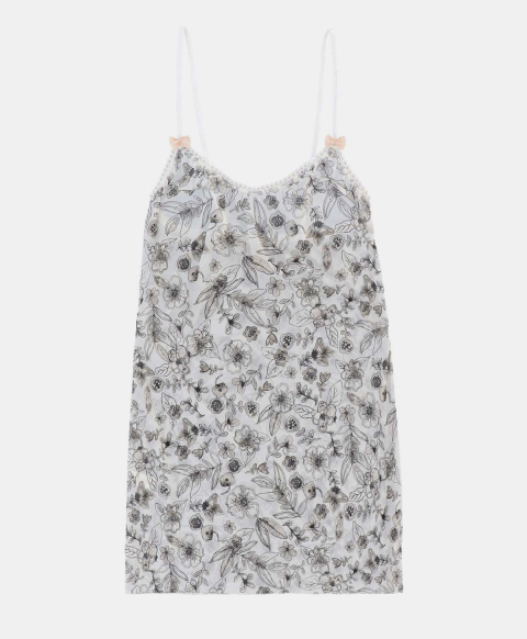 Top with thin straps, watercolour flower print