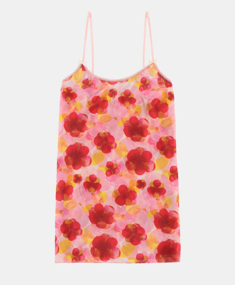 Top with thin straps, pink watercolour print