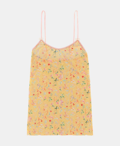 Top with thin straps, multicolour flower print