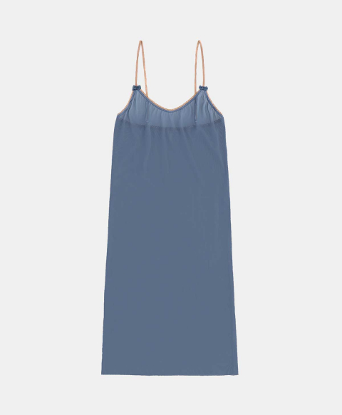 Slip top in powdered blue tulle
