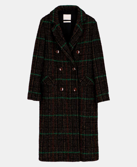OPALE COAT IN WOOL CHECK  GREEN/BLACK
