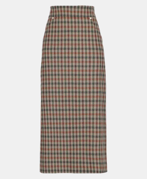 NABIA SKIRT IN CHECK WOOL-COTTON
