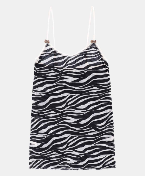 AIRELLE TOP IN PRINTED CHARMEUSE  CREAM/BLACK