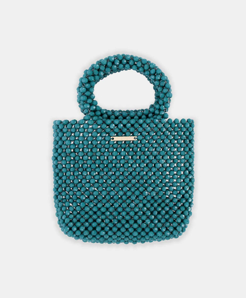 MARSALA BAG IN COLOURED BEADS TEAL GREEN