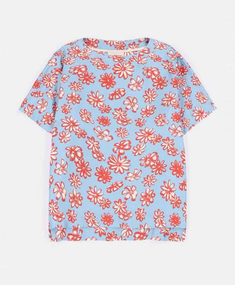ROMA BLOUSE IN PRINTED TWILL RED/LIGHT BLUE