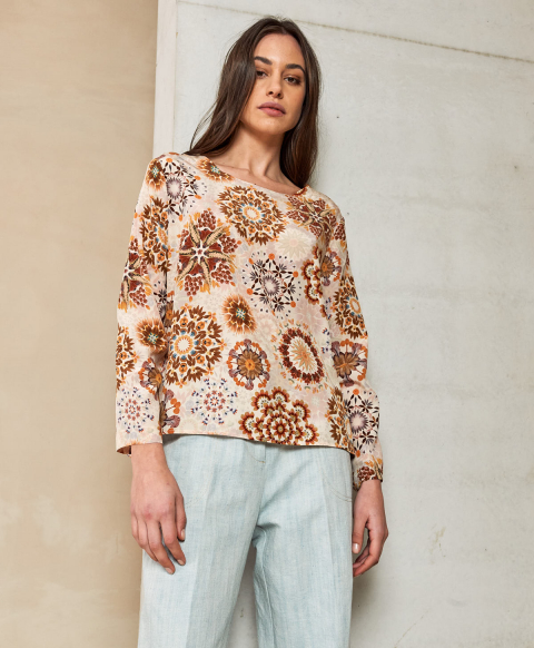 MONZA BLOUSE IN PRINTED CREPE DE CHINE CREAM/PINK