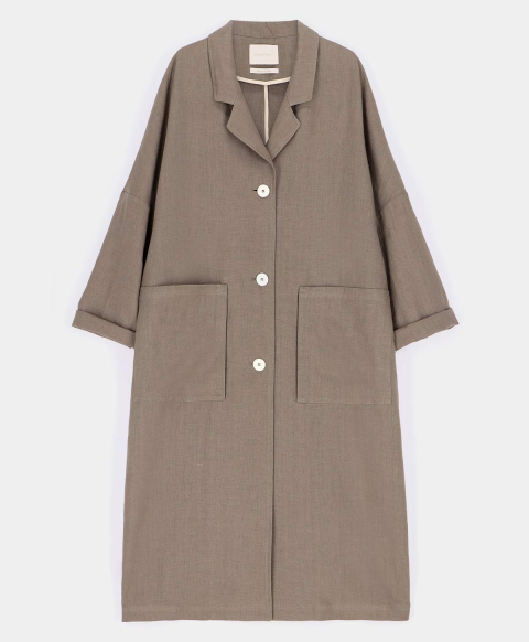 COURMAYEUR COAT IN PURE SOLID COLOUR LINEN  TAUPE