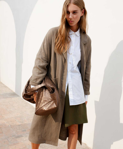 COURMAYER COAT IN PURE SOLID COLOUR LINEN  TAUPE