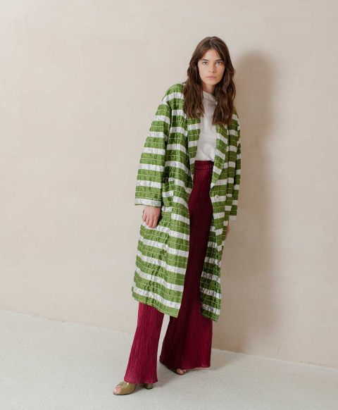 MATERA COAT IN STRIPED MATELASSÉ TAFFETA  GREEN