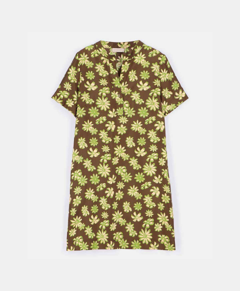 ALBEROBELLO DRESS IN PRINTED TWILL GREEN/CREAM