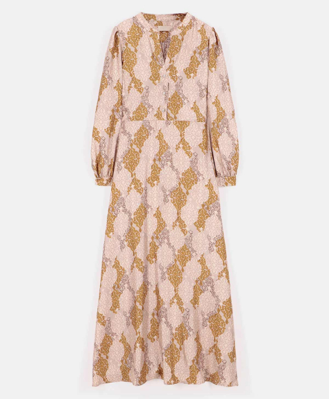 ALBA DRESS IN PRINTED TWILL POWDER/OCHRE