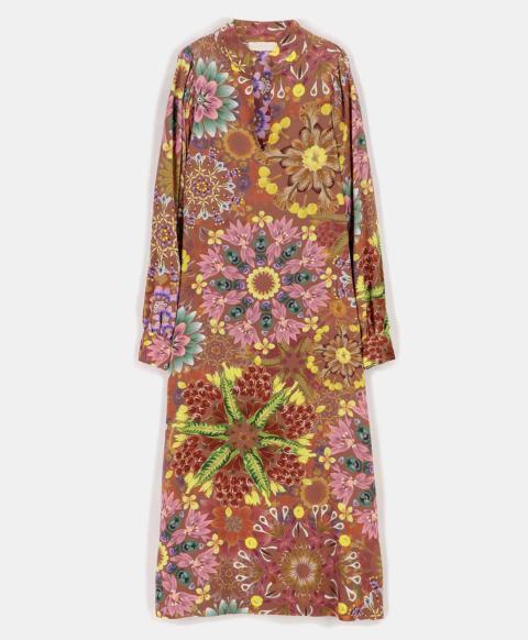BOLOGNA DRESS IN PRINTED CREPE DE CHINE BRICK/PINK/CROCK