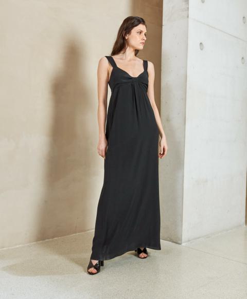 PALERMO DRESS IN SILK BLEND FABRIC BLACK