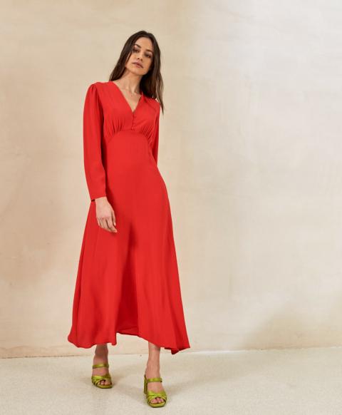 COSTA SMERALDA DRESS IN SILK BLEND FABRIC  RED