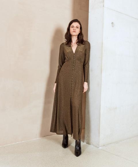POTENZA DRESS IN LUREX JERSEY BROWN