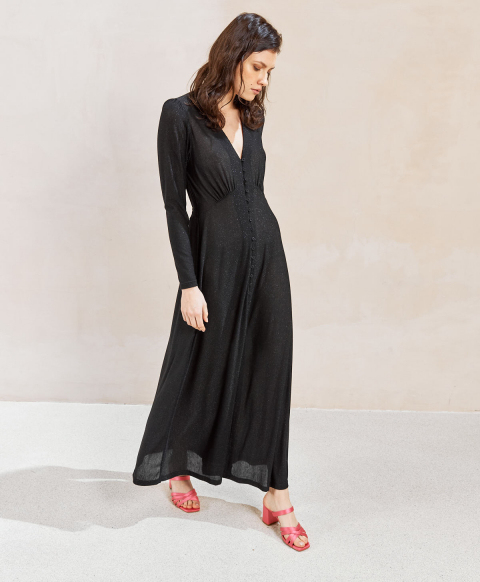 POTENZA DRESS IN LUREX JERSEY BLACK