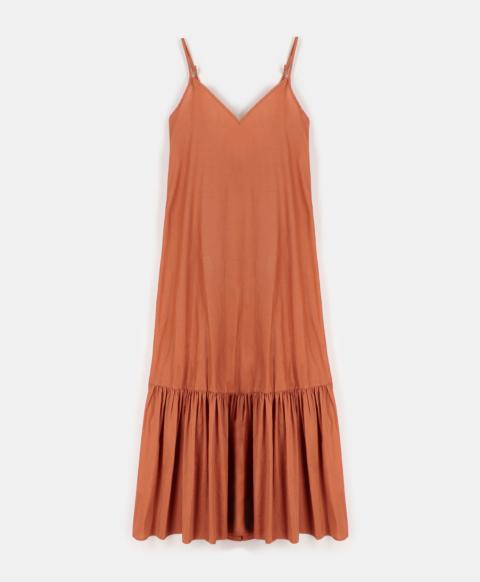 BIANCO DRESS IN COTTON SILK  ORANGE