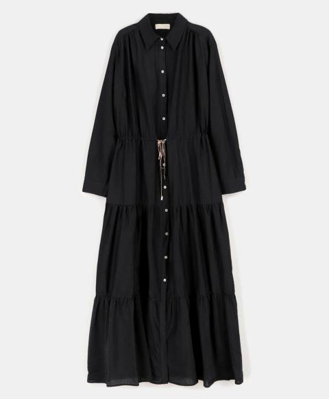 SICILIA DRESS IN COTTON SILK   BLACK