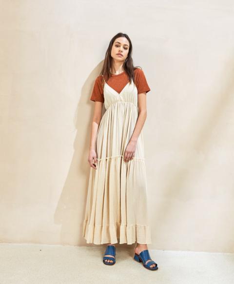 CARRARA DRESS IN LIGHTWEIGHT STRIPED GAUZE  CREAM