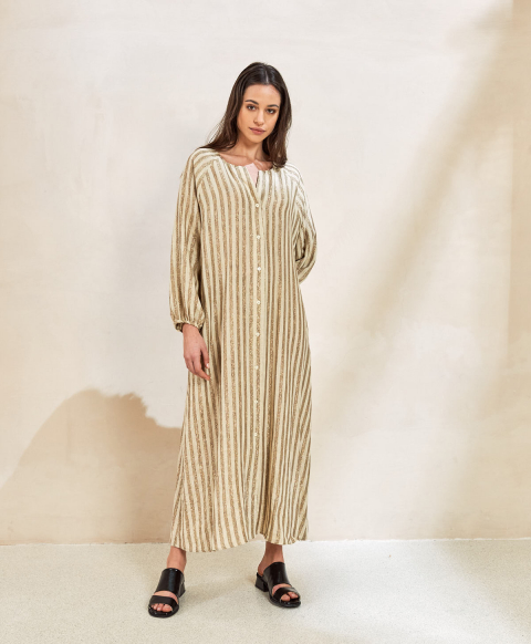 BEGONIA DRESS IN LINEN WITH LUREX STRIPES  CREAM