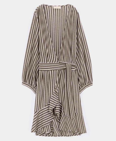 PESARO DRESS IN STRIPED LUREX JERSEY BEIGE/DARK BROWN