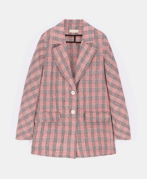 MAIA JACKET IN CHECK YARN-DYED LINEN PINK