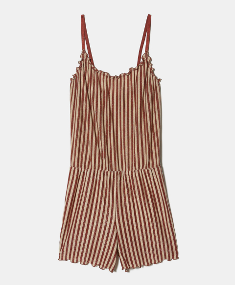 ORCIANO PLAYSUIT IN STRIPED LUREX JERSEY RUST/GOLD