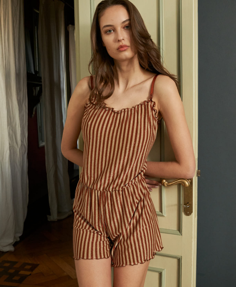 ORCIANO JUMPSUIT IN STRIPED LUREX JERSEY RUST/GOLD
